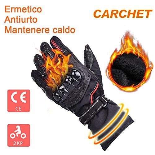 Guanti Moto Invernali Professionali CE Certificazione 2KP, CARCHET Guanti Moto Impermeabili Touch Screen Velluto Morbido, Pelle + Fibra Carbonio Completa Protezione da Moto Motocross Nero Taglia L