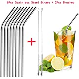 WILLTOO 6 8Pc Long Stainless Steel Drinking Straws 2 Pc Brush Fits 20 Oz & 30 Oz Cups Brushed Included One Size Silver