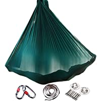 Yuanu Multifuncional Aéreo Yoga Hamaca Ultra Fuerte Safe Durable Antigravedad Hammock/Inversión Herramienta Para Yoga Ejercicios Verde Oscuro Talla Única