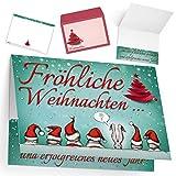 Weihnachtskarten mit Umschlag (15er Set) WEIHNACHTSMÜTZEN - edle Klappkarten ideal privat & geschäftlich - Frohe Weihnachten Karten von BREITENWERK