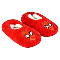 Soft Slippers Boys Spiderman Marvel Avengers | Non-Slip Sole | One Size 28-33 Red