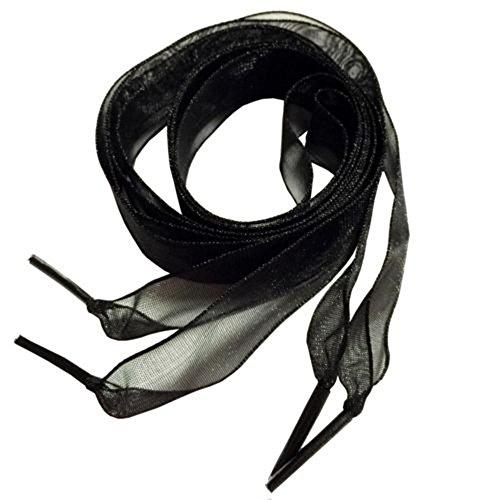 MAXGOODS Lacci Delle Scarpe, Pizzo Neve Filati Lacci Delle Scarpe Per Le Donne Ragazze e Bambini, 120 cm Lungo 2,5 cm Largo.Colore Nero