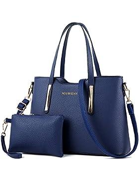 CLOCOLOR Fashion Damen Handtasche Set 2 Teiliges mit Geldbörse PU Leder Henkeltasche Schultertasche