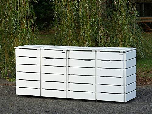 4er Mülltonnenbox / Mülltonnenverkleidung 120 L Holz, Deckend Geölt Weiß - 3
