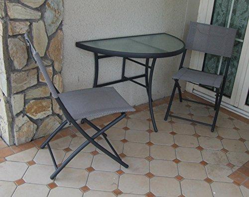 Balkon-Set 3 teilig Gartenmoebel Tisch mit 2 Klappstühlen klein