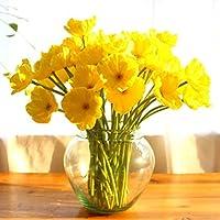 Ineternet 10 pcs PU Simulation Coquelicots Maison Jardin DIY Décor Plante D'intérieur fleurs artificielles (Jaune)