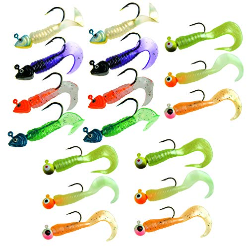 THKFISH Fishing Jigs, 7g/0.25oz 8g/0.28oz Fishing Jigs Fish Head Eye Soft Plastic Fishing Lures Soft Baits Worm Tail Fishing Jig Lure Kit 17Pcs Pack
