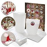 24 weiße Weihnachtstüten 14 x 22 x 5,6 cm + 24 runde Aufkleber 4 cm