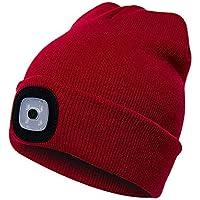 Faraw LED Beanie Hat,Ricaricabile Unisex LED Cappello a Maglia per attività all'aperto Natale
