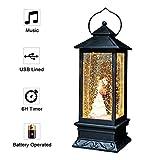 Eldnacele Musical Weihnachten Schneekugel Laterne Singen Batteriebetrieben und gefüttert Beleuchtete glitzernde Wasser Lantern Kirche Navitity Chor mit 6H Timer und USB-Kabel 12