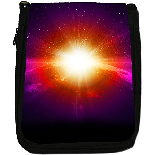 Esplorazione Spaziale Medium Nero Borsa In Tela, taglia M Earth Shiny Sunrise in Space