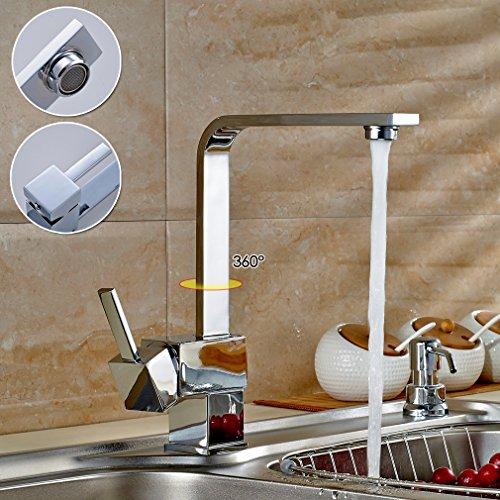 Auralum®Grifería de cocina Grifo Cromo lavabo del bano con Manguera para Fregadero Lavabo Cocina,Monomando Fregadero Caño Giratorio,Fregadero Caño Alto Extraíble