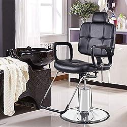 COSTWAY Fauteuil de Coiffeur Fauteuil de Coiffure en PU Cuir Hydraulique Inclinable Chaise 90x60x(105.5~117.5)cm Noir