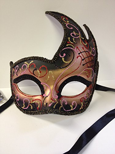 ss Costume Mardis Gras Eye Mask with glitter & ribbon tie ~ BLUSH PINK ()
