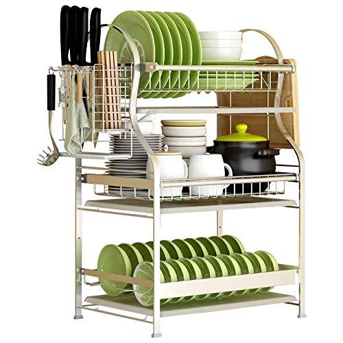 Haushalt Küche 3-lagiges Geschirr Abtropfgestell Edelstahl 304 mit Werkzeugablagefach Große Kapazität Organizer (Size : A)