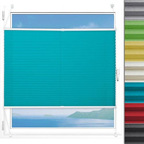 Plissee Rollo Magic | moderner Sichtschutz mit Crushed Optik | Fensterrollo mit Klemmfix ohne Bohren | Klemmrollo in verschiedenen Farben und Größen ( Türkis - 75 cm breit und 100 cm lang )