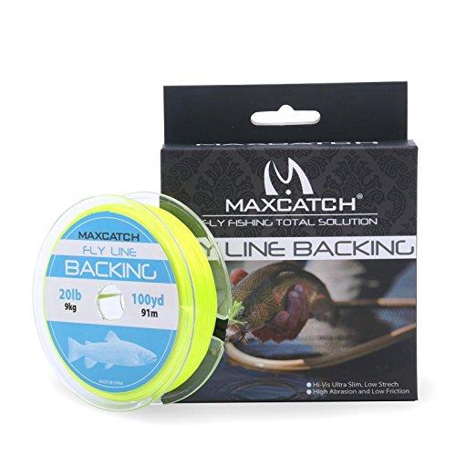 Maxcatch Fliegenschnur Reserve zum Fliegenfischen Geflochten Verschiedene Farben 20/30lb 100yards (gelb, 20lb)