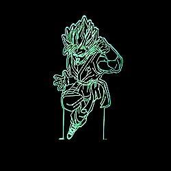 Wmshpeds Dragon Ball 3D Sun Wukong se enciende la luz colorida de la noche del mando a distancia táctil lámpara creativa en tres dimensiones