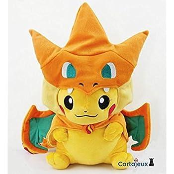Peluche Pikachu Dracaufeu Grand Modèle Version Bouche fermée - Edition Limité & Exclusive Pokemon Center Tokyo (Import Japon - Produit Officiel)