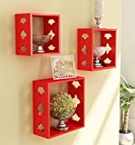 Red Wooden Nested Wall Shelf Set Of Thre...