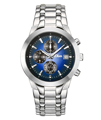 s. Oliver Men's Quartz Watch with Black Dial Analogue Display Quartz Chronograph So 50-15055-28MCR