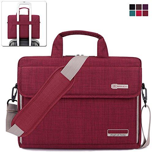Brinch Laptoptasche aus Oxfordgewebe, Unisex, Universal, Luxus-Material, mit Schultergurt, Aktentasche, Handtasche für Laptop/Notebook/Macbook/Ultrabook/Chromebook, (Apple/Acer/Asus/Dell/Fujitsu/Lenovo/HP/Samsung/Sony/Toshiba etc..) mit Schultergurt, Griff und Taschen rot rot 15,6 Zoll (39.6 cm)