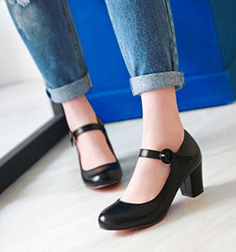 Aisun Damen Einfarbig Schnalle Schuhe Blockabsatz Pumps Schwarz