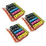 15 Tintenpatronen von PerfectPrint, kompatibel mit Canon Pixma iP4850, iP4950, jX6550, MG5150, MG5250, MG5300, MG5320, MG5350, MG6150, MG6250, MG8150, MG8170, MG8220, MG8250, MX715, MX885 und MX895 Druckern.