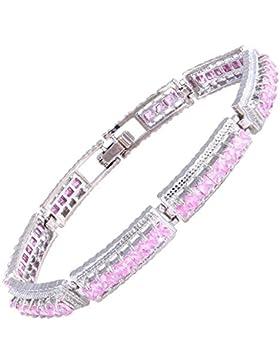 Riva Schmuck Luxus 18K Weißsgold Vergoldet Prinzessin Rosa Saphir Armband