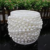 ICTRONIX 10m/Rollo 8mm Granos de la cadena perlas de acrílico plástico para decoración fiesta novia de boda flor (blanco)