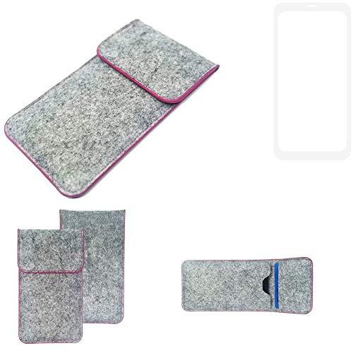 K-S-Trade® Filz Schutz Hülle Für Leagoo KIICA Power Schutzhülle Filztasche Pouch Tasche Case Sleeve Handyhülle Filzhülle Hellgrau Pinker Rand