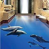 Mbwlkj Fototapete Moderne Dolphin Undersea World 3D Bodenfliesen Wandaufkleber Badezimmer Schlafzimmer Pvc Wasserdichte Wohnkultur Wandpapier-350cmx245cm