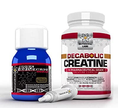 Anabolic Muscle Stack : Testo Extreme Anabolic & 10 Blend Decabolic Creatine - Strongest Legal Testosterone Booster / Creatine Powder from Nutracell Labs