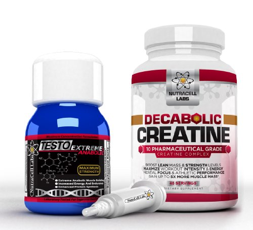 Anabolic Muscle Stack : Testo Extreme Anabolic & 10 Blend Decabolic Creatine – Strongest Legal Testosterone Booster / Creatine Powder