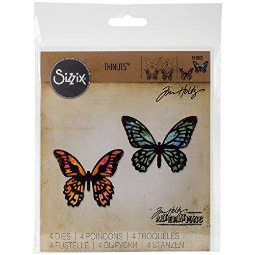 Sizzix Thinlits Fustella 4 Pezzi Mini Farfalle Dettagliate, Steel, Multicolored, 19.1x14.4x0.4 cm 6 unità