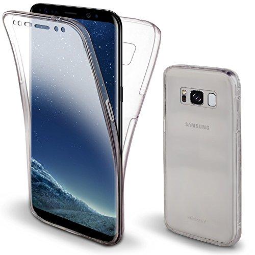 Moozy 360 Grad Hülle für Samsung S8, Samsung Galaxy S8 - Vorne und Hinten Transparenter TPU Ultra Dünn Weiche Silikon Handyhülle Case