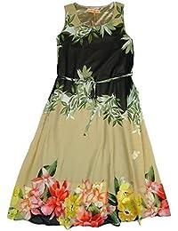 pour filles feuilles florales CRAVATE TAILLE mousseline de soie COUCHE sans manche Robe été tailles de 3 pour 14 An