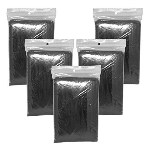 5 x Regenponcho schwarz mit Kapuze / wasserdicht / elegante Farbe - Notfallponcho - Regencape (Hose Camo Element)