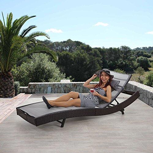 Mendler Sonnenliege Savannah, Relaxliege Gartenliege Liege, Poly-Rattan ~ braun-meliert, Bezug grau - 2
