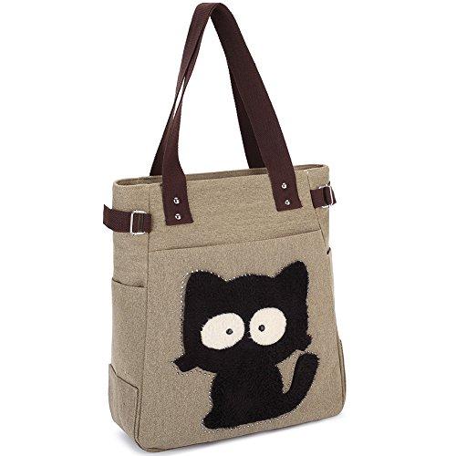 Vintage Reisetasche Handtaschen Schultertasche KAUKKO Shopper Taschen Umhängetasche Damen Handbag Khaki
