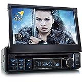 """XOMAX XM-DTSBN921 Radio de coche / Autoradio 1DIN con Navegación GPS con Mapas de Europa (48 países) + Bluetooth Manos libres + 7 """"/ 18 cm pantalla táctil HD de resolución (800 x 480 píxeles) + 7 colores de iluminación ajustable + DVD / CD + puerto USB (hasta 32 GB!) + Micro SD + MPEG4, MP3, WMA, AVI + Conexiones para subwoofer, cámara de vista trasera y el control a distancia del volante"""