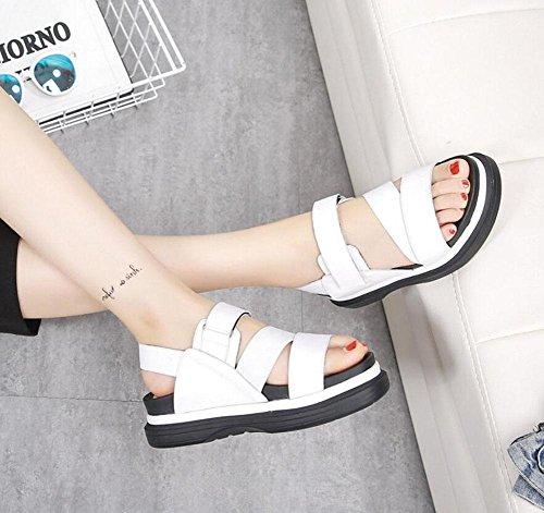 Damen Open Toe Sandalen Sommer Slingback Leder Flip Flops weiblichen Mid Heel flachen elastischen Klettverschluss Plattform Schuhe White