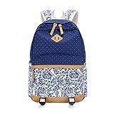 Umily Rucksack damen Teenager Groß Schulrucksack Casual Daypack Reisetasche mit Mäppchen für Universität Outdoor Freizeit-Blaue Blume