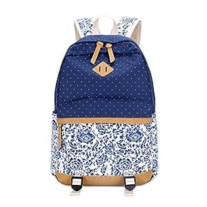 51vNl0HP96L. SS300  - Umily Mochilas Escolares Mujer Backpack Mochila Escolar Lona Grande Unisexo Bolsa Casual Juvenil Chica-Flor Azul