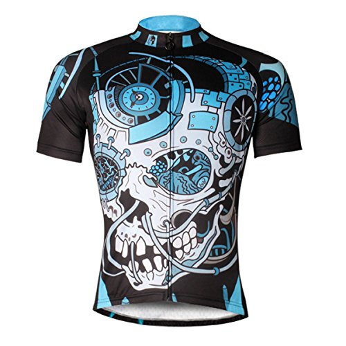 Kranchungel Men's Mechanical Pattern Bike Shirt Short Sleeve Cycling Jersey Quick Dry Breathable Mountain Clothing Bike Top