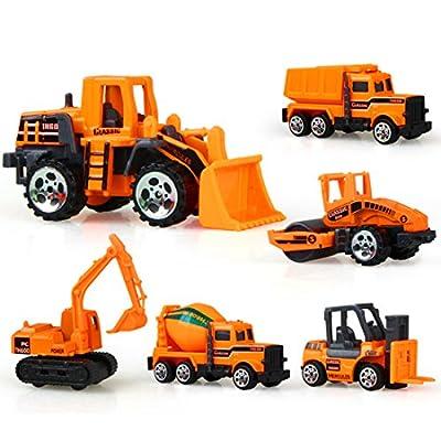 Fahrzeug Set Kinder, Teckpeak 6 Stück Baufahrzeuge Mini Fahrzeug Kinder von Teckpeak