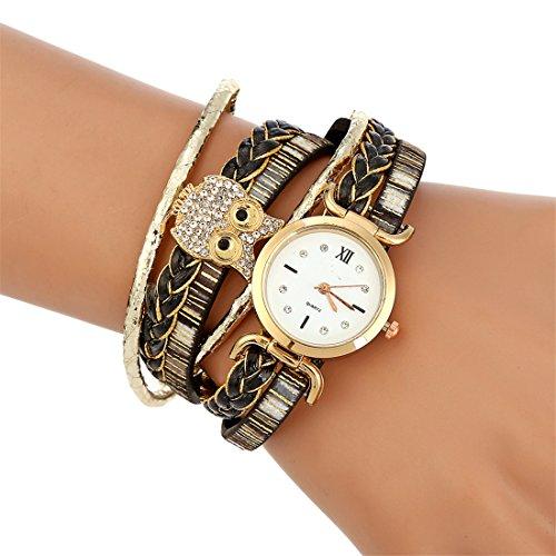 MJARTORIA Damen Armbanduhr Bohemian Stil mit Eule Dekor Analog Quarz Uhr Studenten Uhr Schwarz