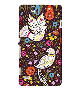 Fuson Designer Back Case Cover for Sony Xperia C4 Dual :: Sony Xperia C4 Dual E5333 E5343 E5363 (Pigeon White Pigeon Flowers Leaves pink Flowers)