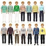 Miunana 5 Traje de Ropa Hecha a Mano Vestir Casual con Deportivo Verano Fashion Camisas y Pantalones Cortos para Novio Ken Muñeco Barbie Doll (5 Ken Ropas)