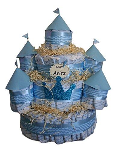 Castillo de pañales Azul, 120 pañales Dodot, tarta de pañales ideal como regalo de bebé